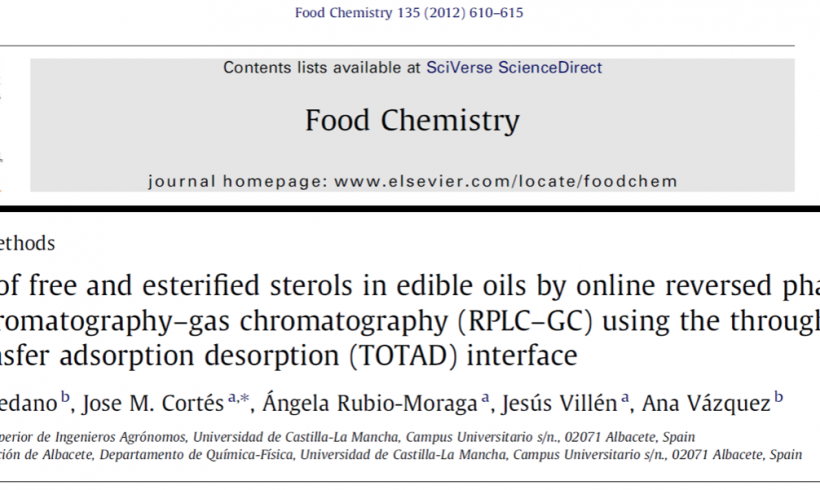 Analysis Of Free And Esterified Sterols In Edible Oils By On Line Reversed Phase Liquid Chromatography-Gas Chromatography Using The Through Oven Transfer Adsorption Desorption (TOTAD) Interface.