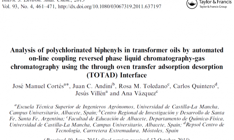 Analysis of polychlorinated biphenyls in transformer oils by automated on-line coupling reversed phase liquid chromatography-gas chromatography using the through oven transfer adsorption desorption (TOTAD) interface.