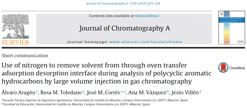 Use of nitrogen to remove solvent from through oven transfer adsorption desorption interface during analysis of polycyclic aromatic hydrocarbons by large volume injection in gas chromatography.