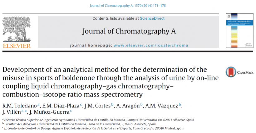 Development of an analytical method for the determination of the misuse in sports of boldenone through the analysis of urine by on-line coupling liquid chromatography–gas chromatography–combustion–isotope ratio mass spectrometry.