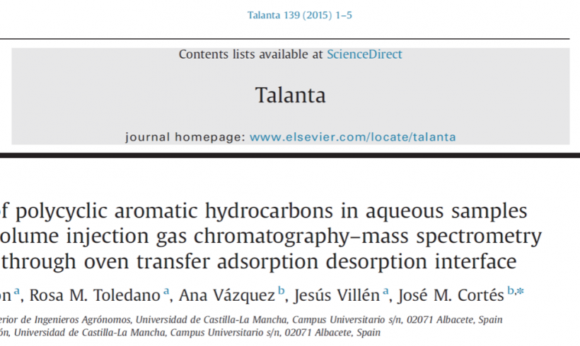 Analysis of polycyclic aromatic hydrocarbons in aqueous samples by large volume injection gas chromatography–mass spectrometry using the through oven transfer adsorption desorption interface.