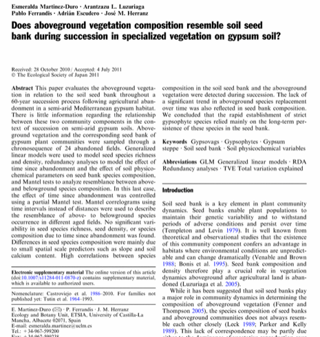 Does aboveground vegetation composition resemble soil seed bank during succession in specialized vegetation on gypsum soil.
