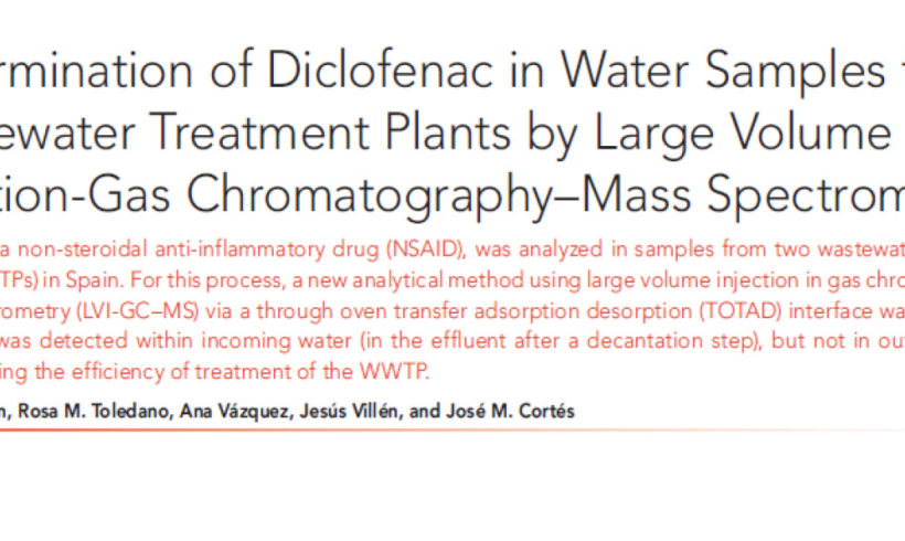 Determination of Diclofenac in water samples from wastewater treatment plants by large volume injection-gas chromatography-mass spectrometry